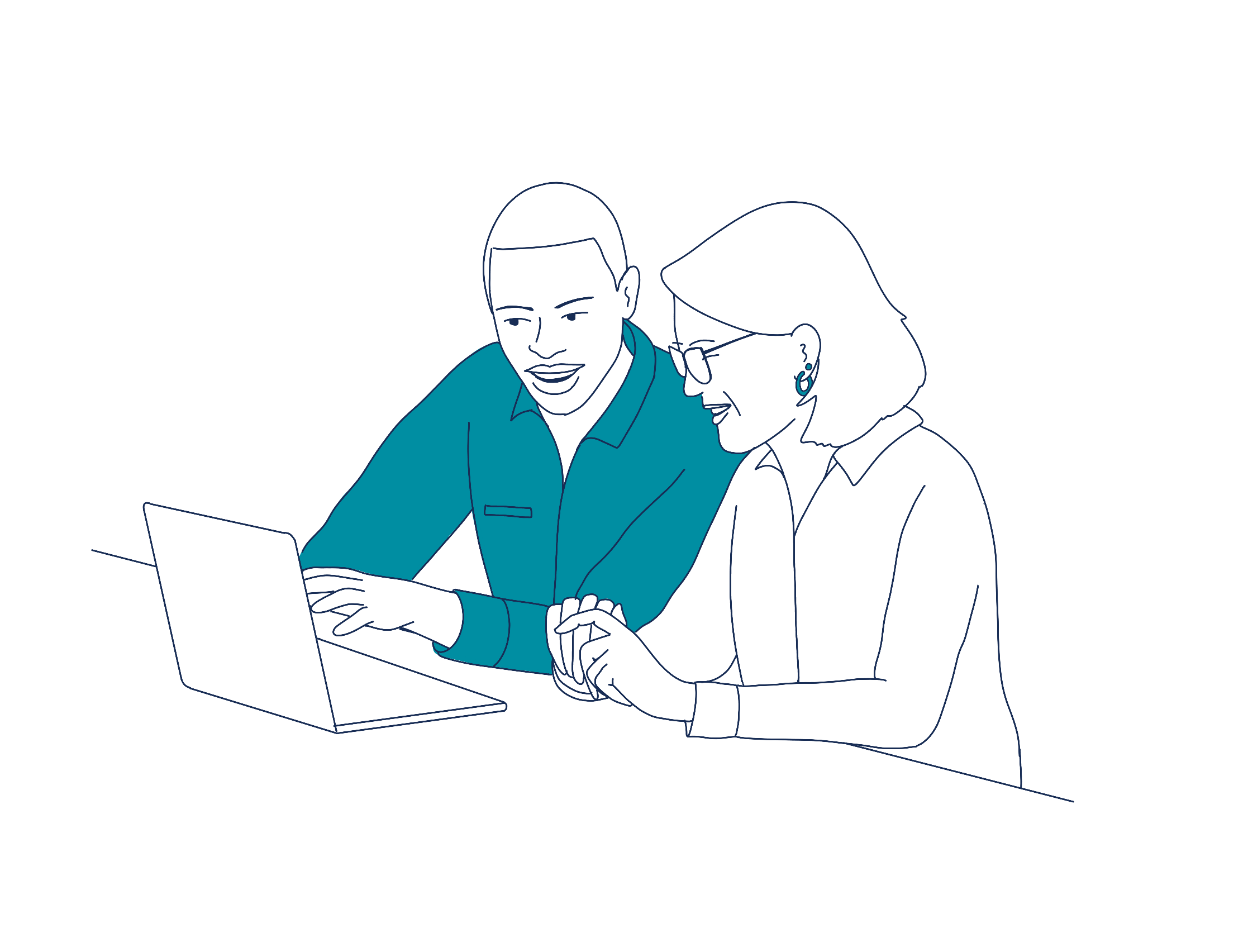 two people with laptop
