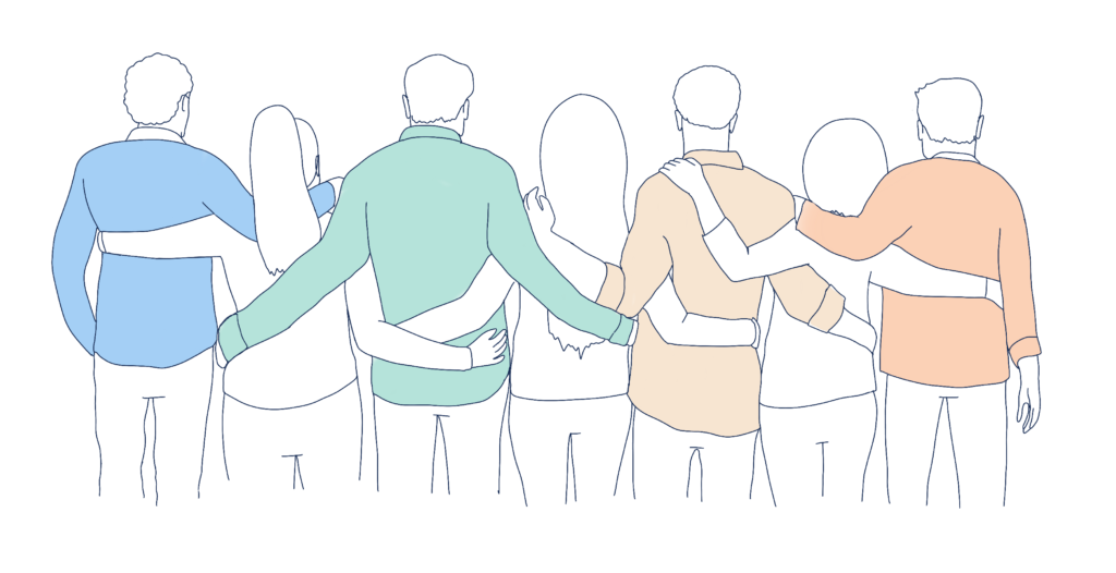 group with arms around each other