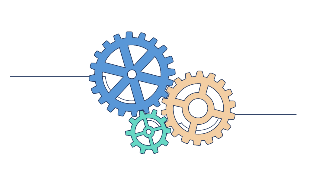 multiple colored gears turning