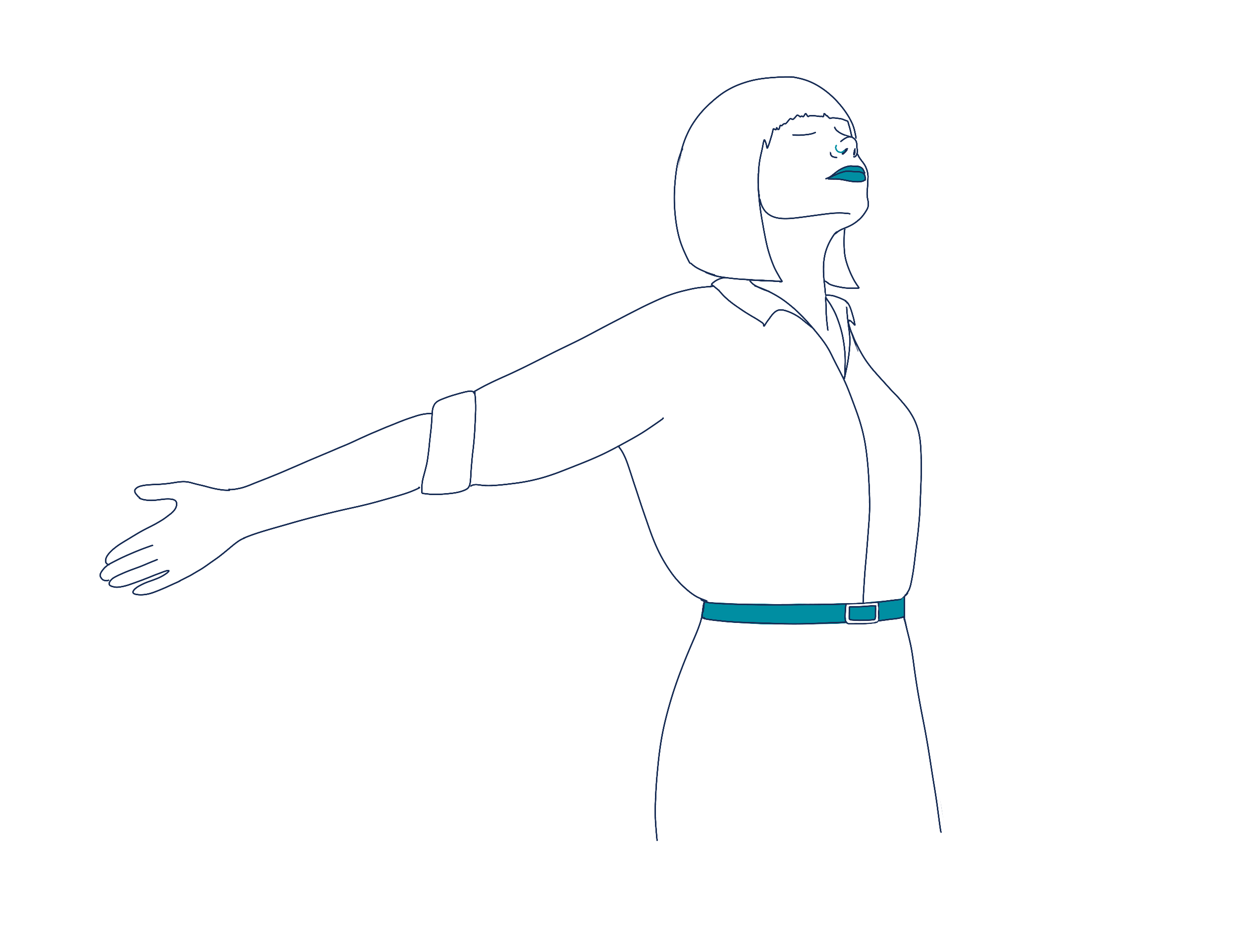 woman with arms out